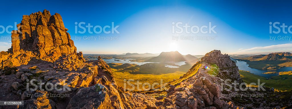 Scotland glorious dawn over Highland mountain peaks lochs glens panorama stock photo