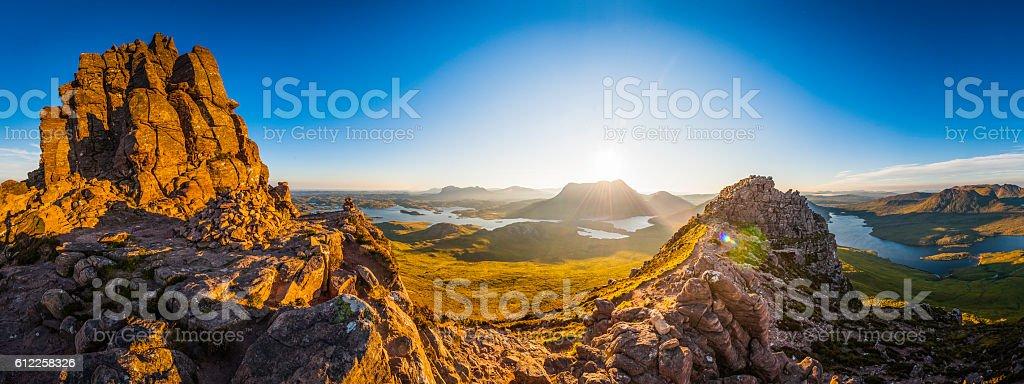 Scotland glorious dawn over Highland mountain peaks lochs glens panorama stock photo
