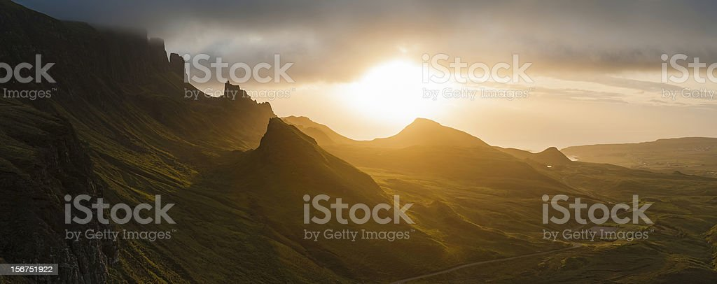 Scotland golden sunrise Isle of Skye Highlands panorama stock photo