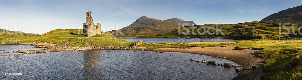 Scotland Highland castle ruins mountain loch panorama stock photo