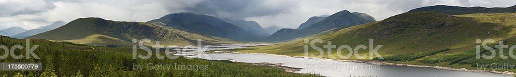 Scotland Highland loch dramatic mountain glen panorama stock photo