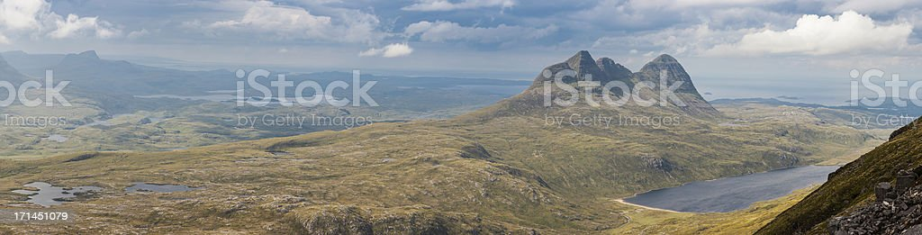 Scotland Highland mountain wilderness panorama Suilven Assynt stock photo
