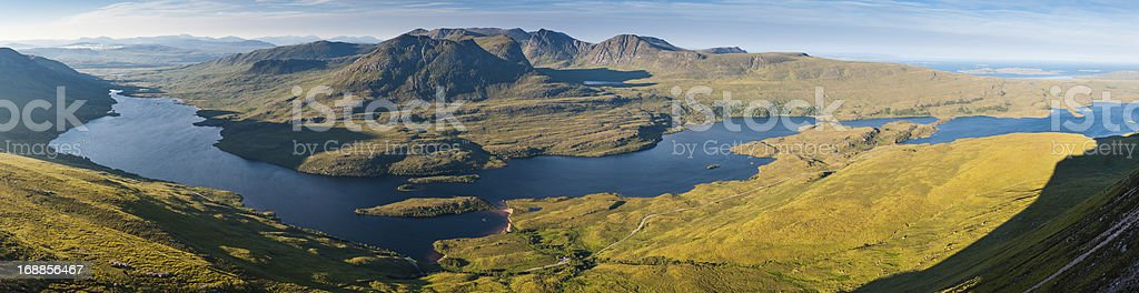 Scotland Highlands idyllic mountain loch landscape Summer Isles stock photo