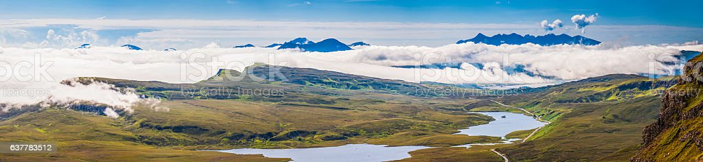 Scotland Highlands mountain peaks lochs glens above the clouds Skye stock photo