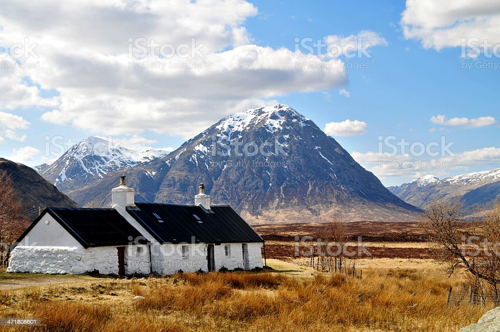 Scotland: Highlands with Houses stock photo