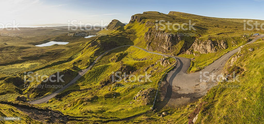 Scotland idyllic mountain pass Isle of Skye sunrise panorama stock photo