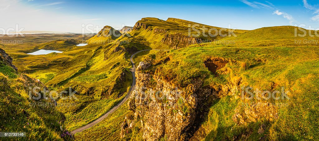 Scotland Isle of Skye country road idyllic Highlands mountains panorama stock photo