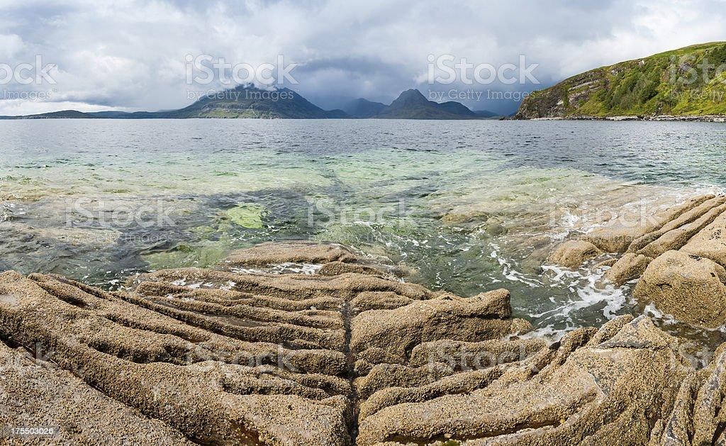 Scotland Isle of Skye Elgol Beach Cuillin mountain peaks stock photo