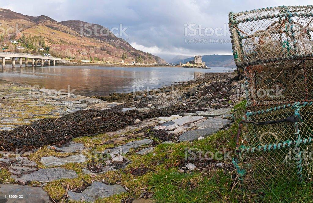 Scotland lobster pots loch castle royalty-free stock photo