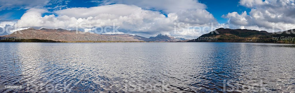 Scotland loch mountain cloudscape stock photo