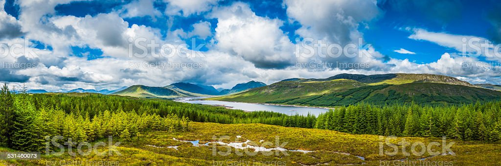 Scotland lochs and glens Highland mountains green forests panorama stock photo