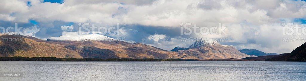 Scotland mountain loch forest stock photo