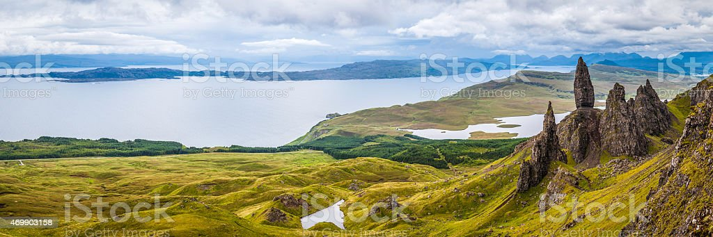 Scotland Old Man of Storr iconic Highlands pinnacles Skye panorama stock photo