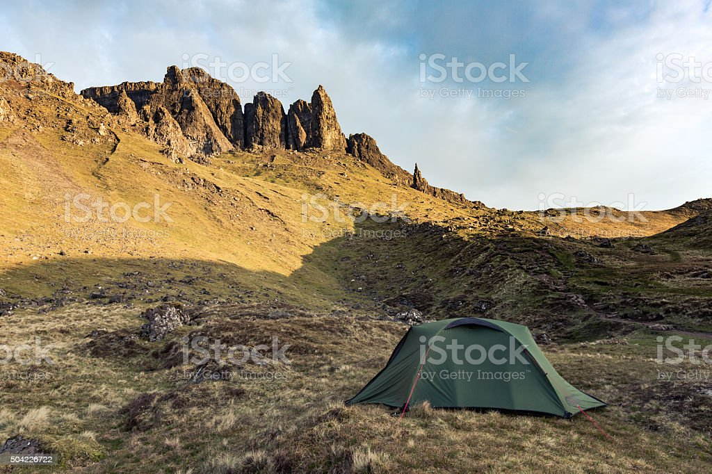 Scotland old man of storr tent stock photo
