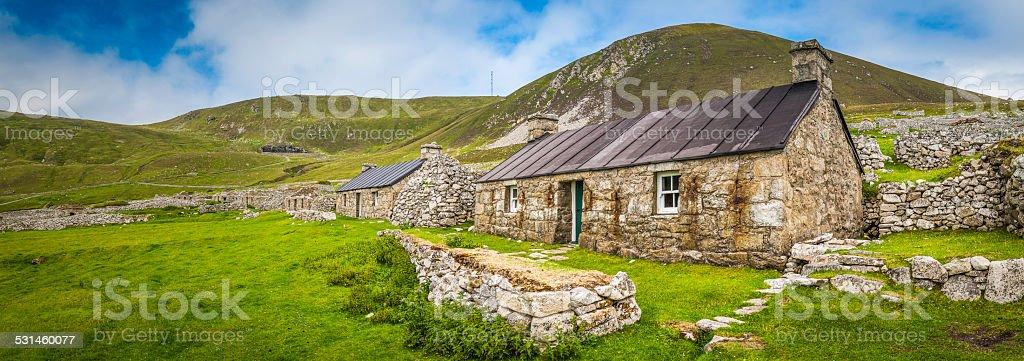Scotland Outer Hebrides St Kilda renovated village cottages remote island stock photo