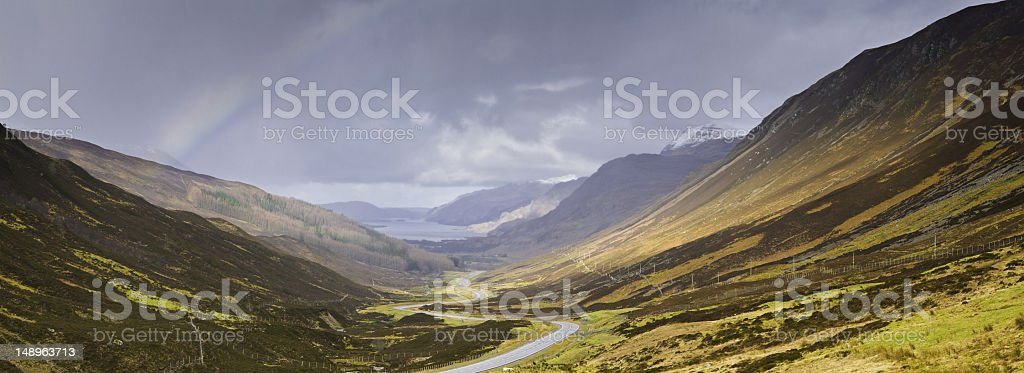 Scotland rainbow glen road ribbon stock photo