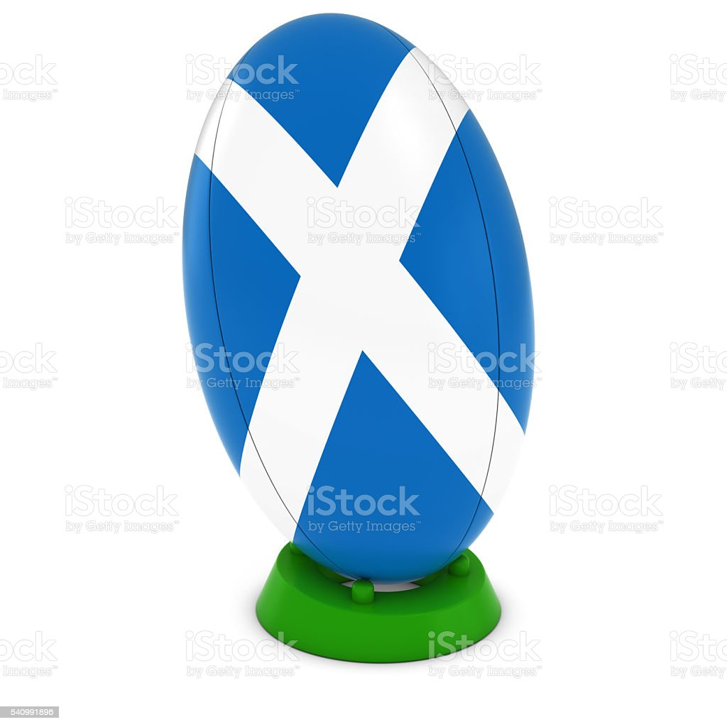 Scotland Rugby - Scottish Flag on Standing Rugby Ball stock photo