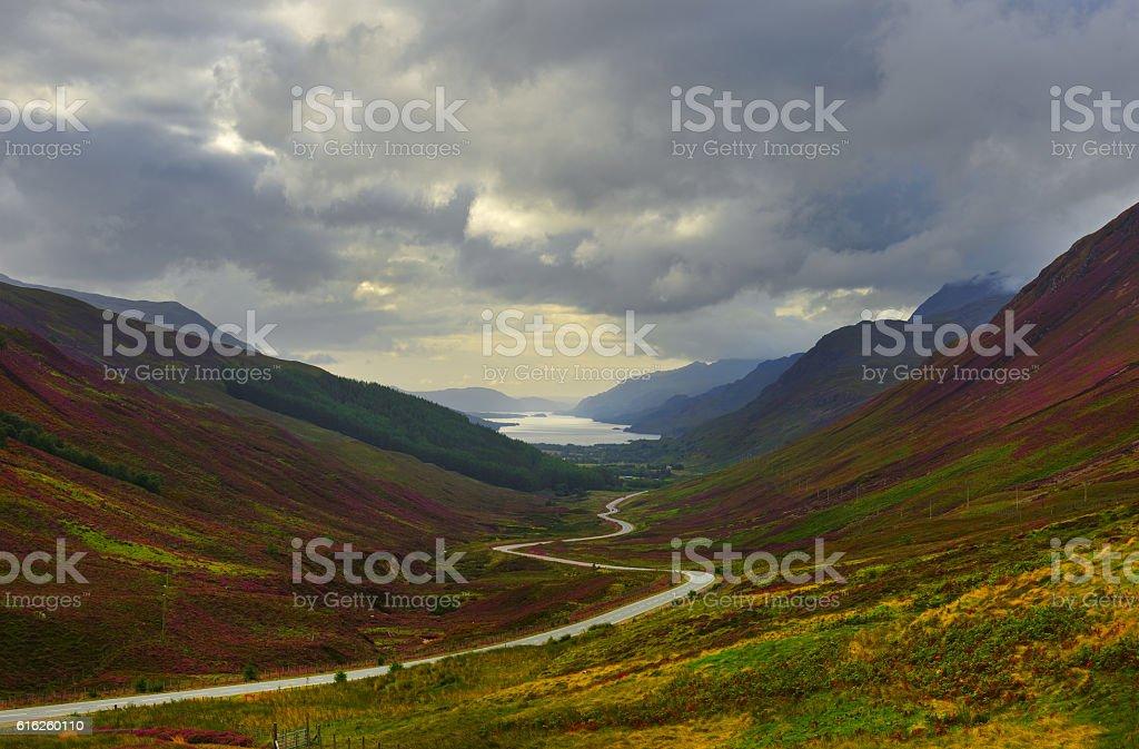 Scotland scenic road stock photo