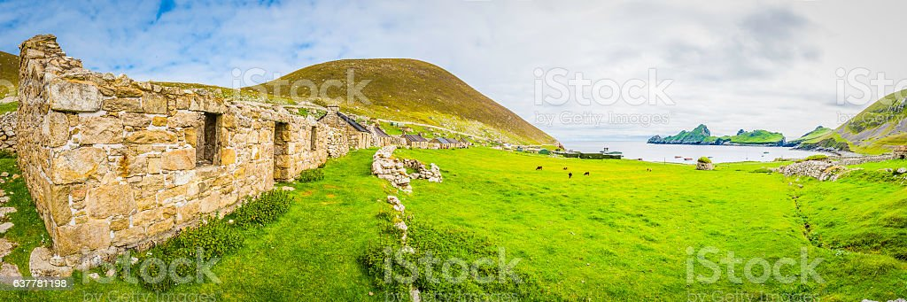Scotland St Kilda historic cottages on The Street Outer Hebrides stock photo