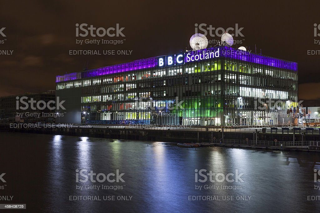 BBC Scotland Studios at night. stock photo