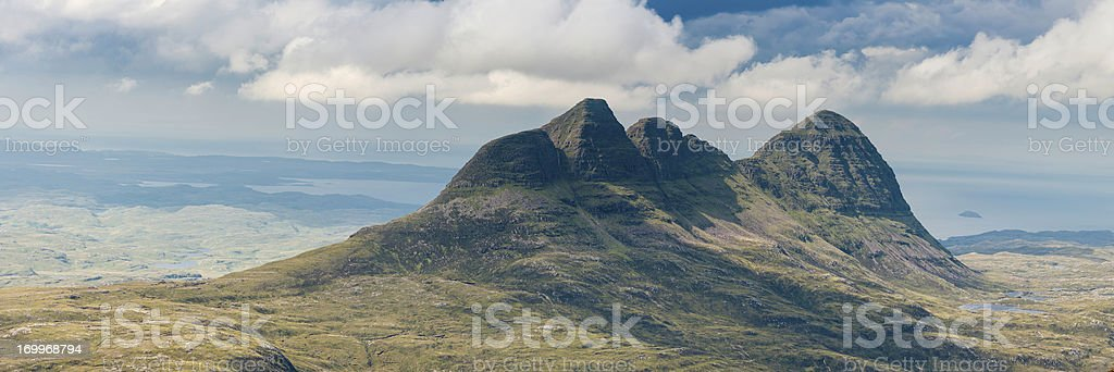 Scotland Suilven iconic mountain ridge Inverpolly wilderness Assynt royalty-free stock photo