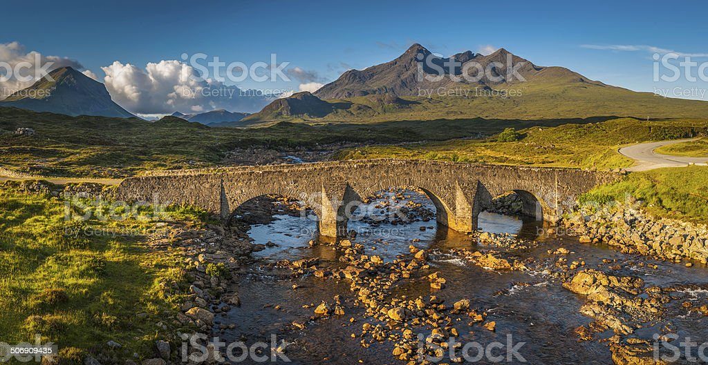 Scotland sunrise on Cuillin mountain peaks Sligachan bridge Skye Highlands stock photo