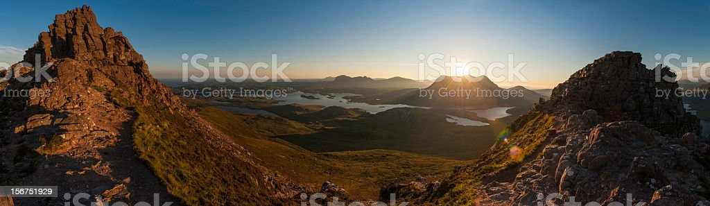 Scotland sunrise on Sutherland mountain wilderness Highlands stock photo