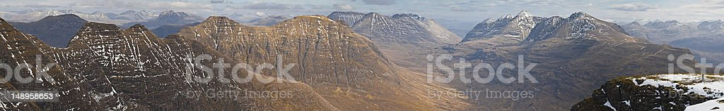Scotland Torridon dramatic peaks panorama royalty-free stock photo