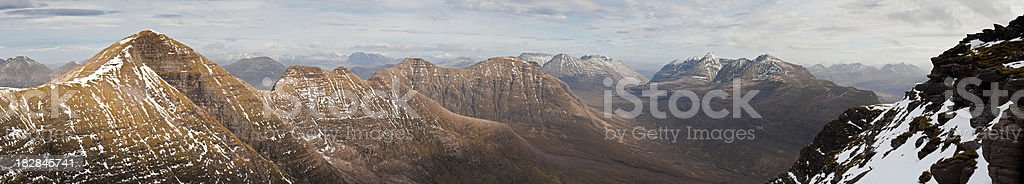 Scotland Torridon mountain wilderness panorama Beinn Alligen Sgurr Mor UK royalty-free stock photo