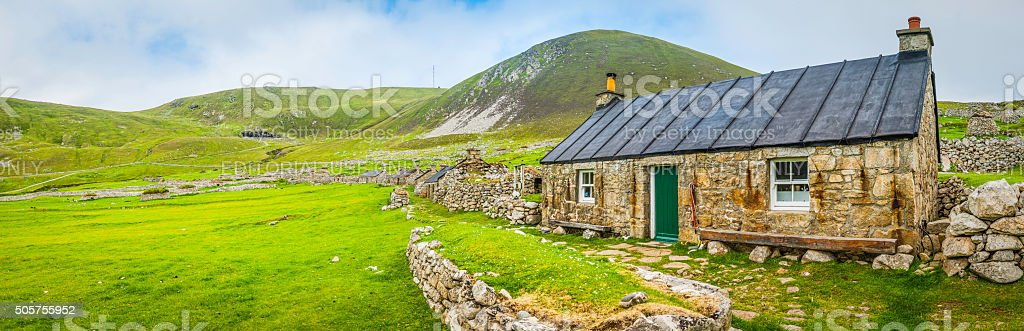 Scotland traditional blackhouse reconstructed on St Kilda Outer Hebrides Scotland stock photo