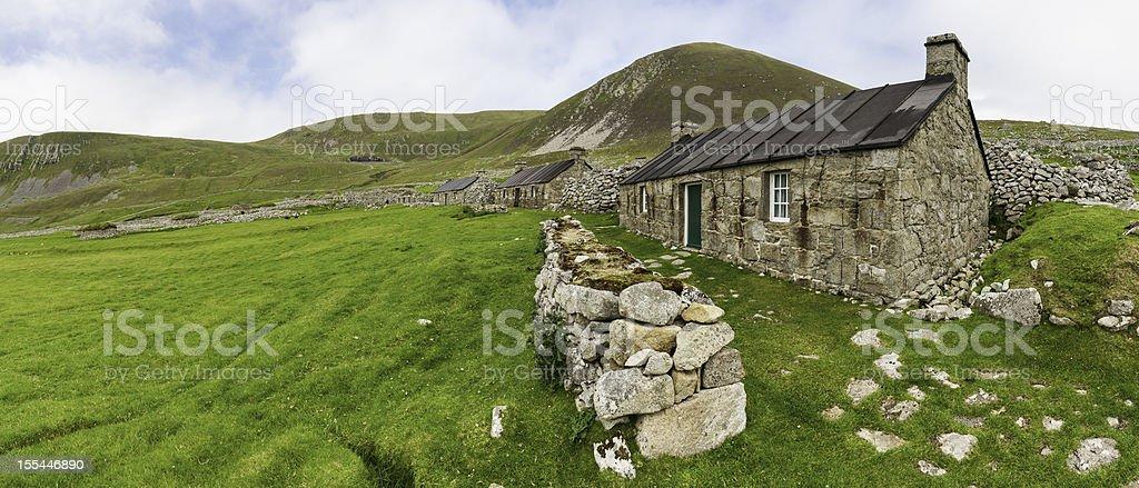 Scotland traditional stone croft cottages St Kilda Western Isles royalty-free stock photo