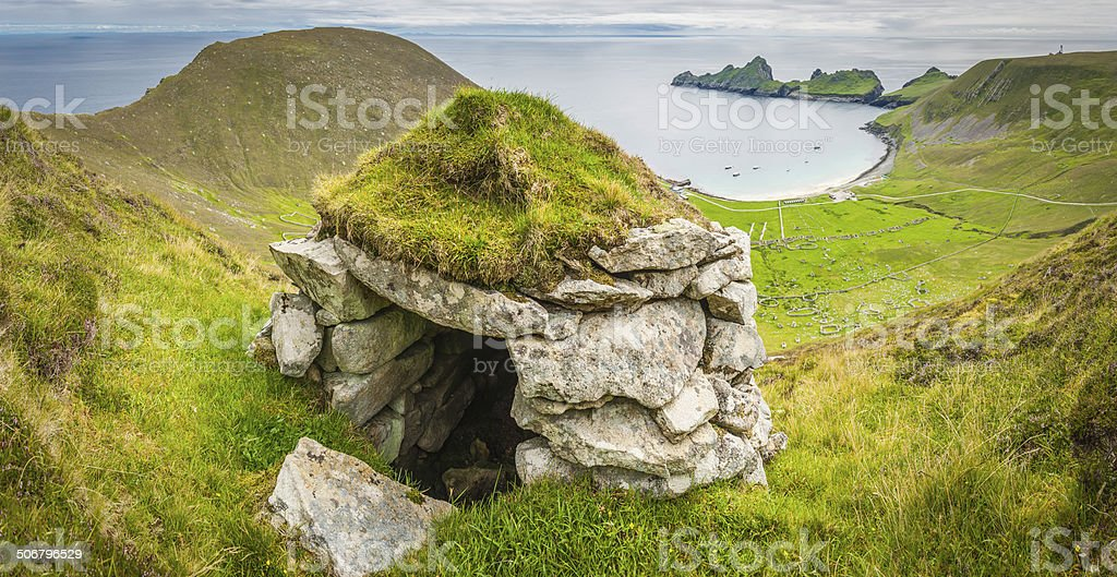 Scotland traditional turf cleit overlooking Village Bay St Kilda Highlands stock photo