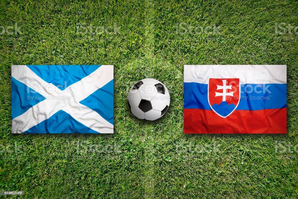Scotland vs. Slovakia flags on soccer field stock photo