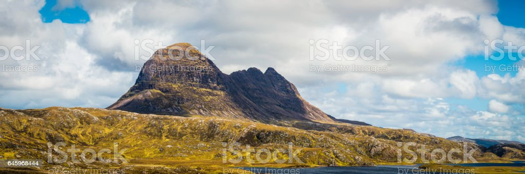 Scotland wild Highlands of Inverpolly Suilven iconic mountain peak panorama stock photo