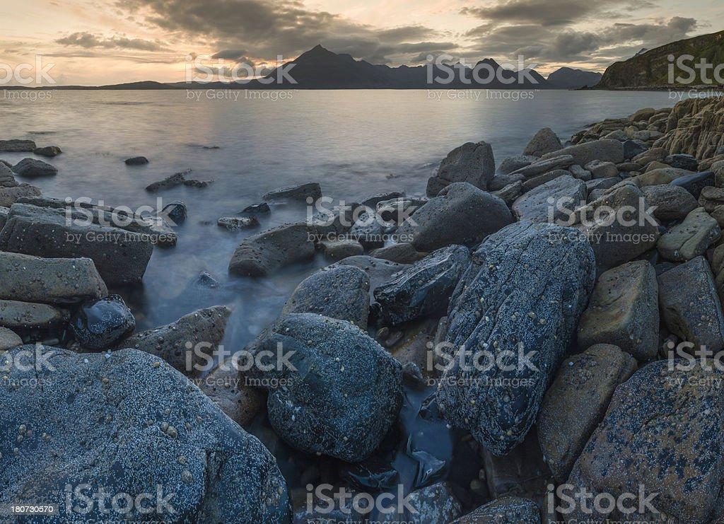Scotland wilderness shore jagged mountain peaks Elgol Beach Cuillins Skye stock photo