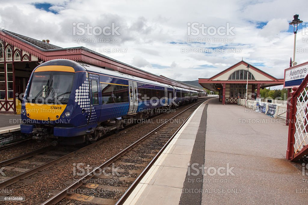 Scotrail Passenger Train Service at Aviemore Station stock photo