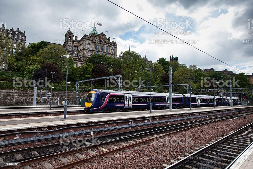 ScotRail Train arrives at Edinburgh stock photo