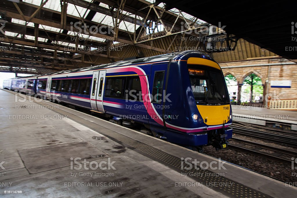 Scotrail Train Class 170 at Perth Station. stock photo