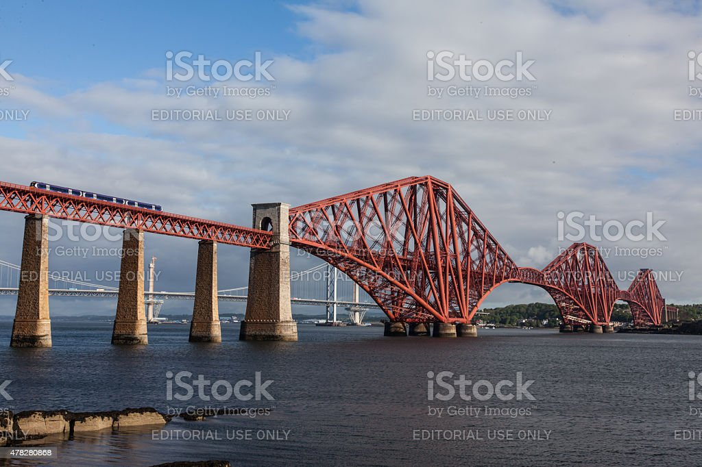 ScotRail Train on the Forth Rail Bridge at low tide stock photo