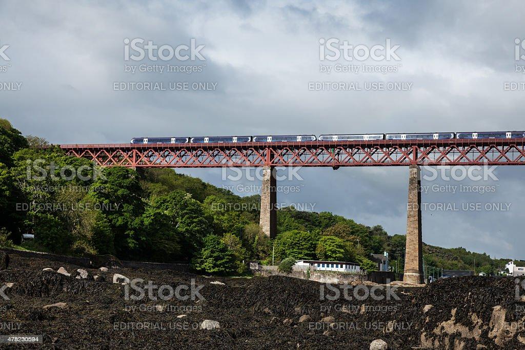 ScotRail Train Service on the Forth Rail Bridge stock photo