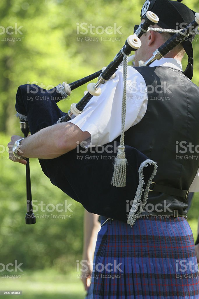 Scotsmen with bagpipe stock photo