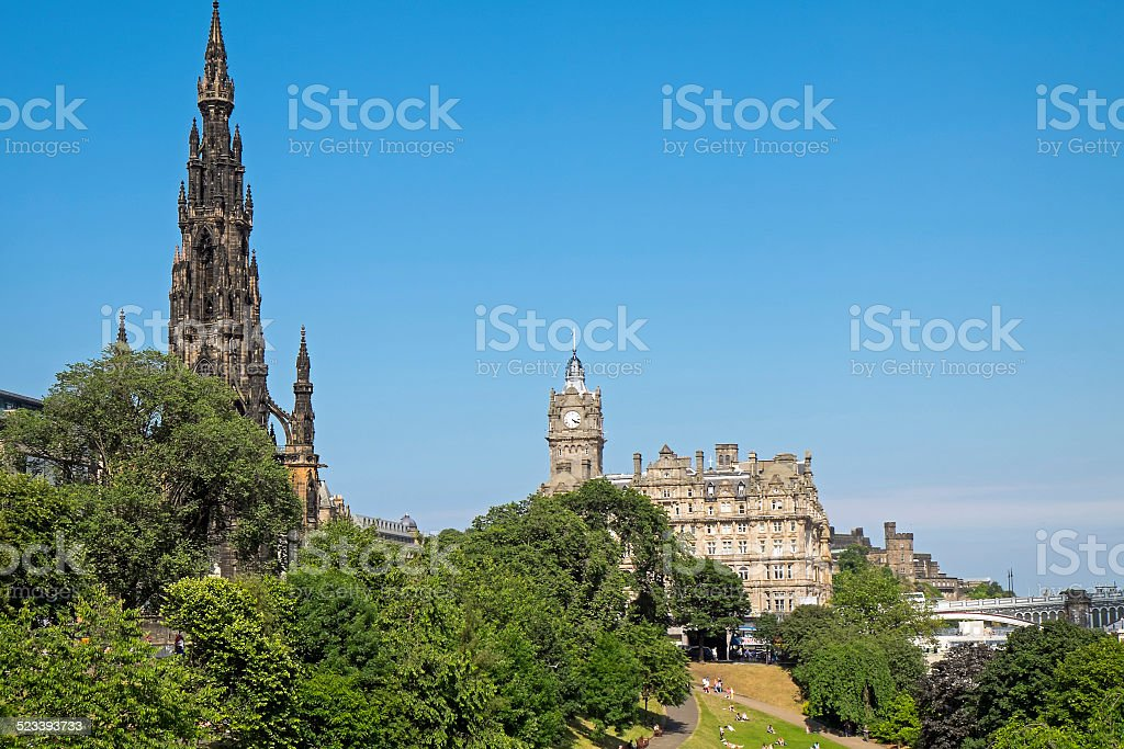 Scott Monument and old building stock photo
