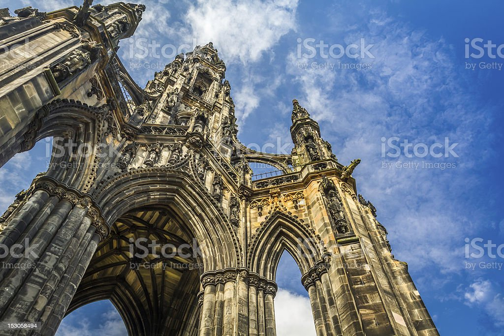 Scott Monument in sunny Edinburgh stock photo
