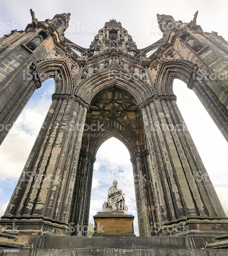 Scott Monument on Princes Street in Edinburgh (Scotland) stock photo