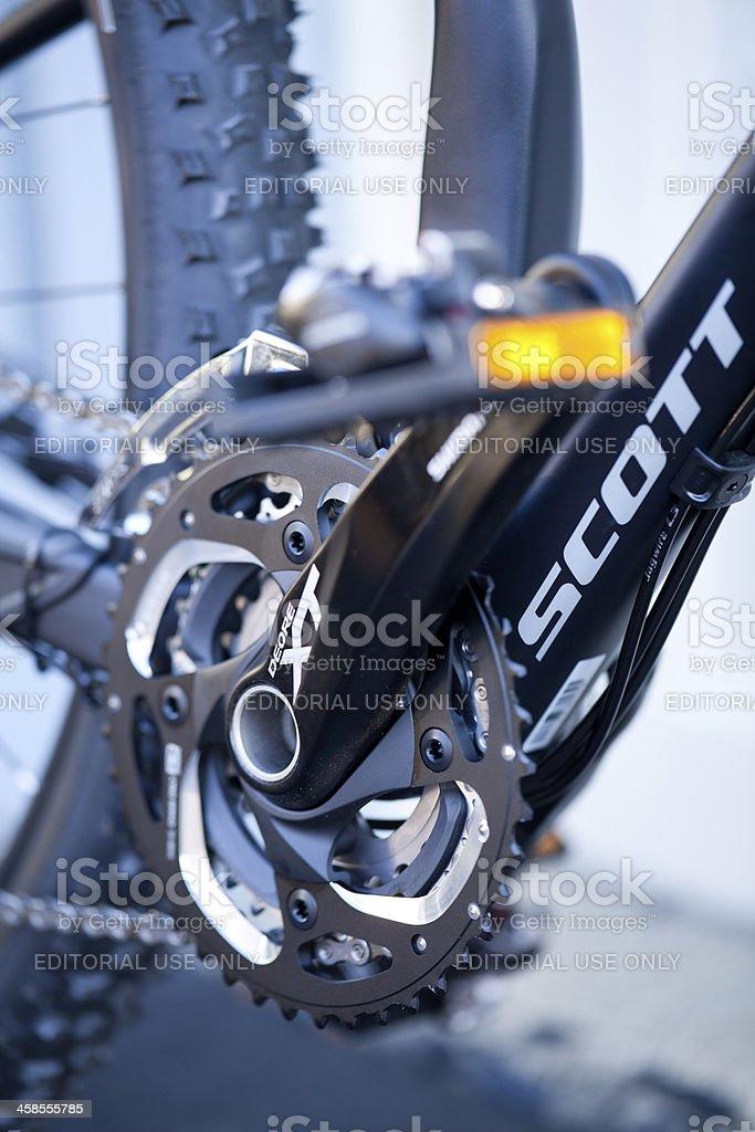 Scott mountain bike Shimano XT crankset stock photo