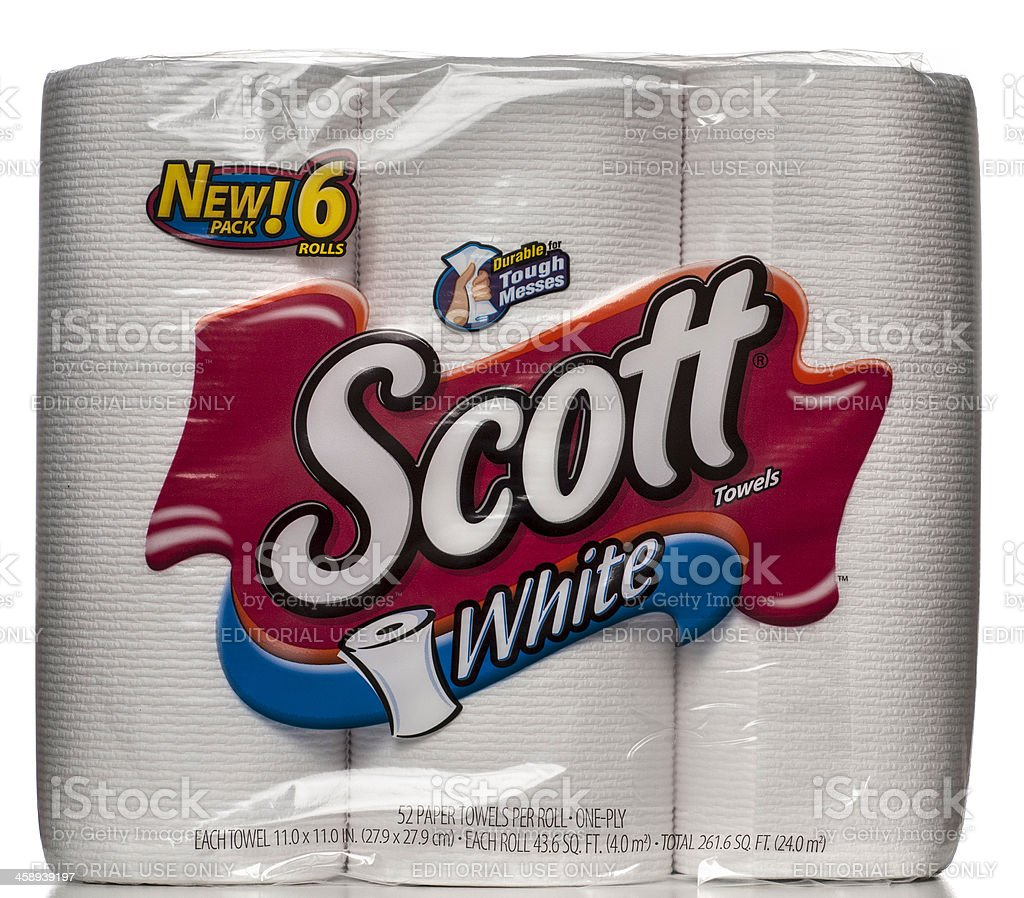 Scott White Towels 6 Rolls Package stock photo
