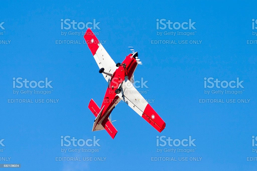 Scottish Aviation Bulldog performing aerobatics stock photo