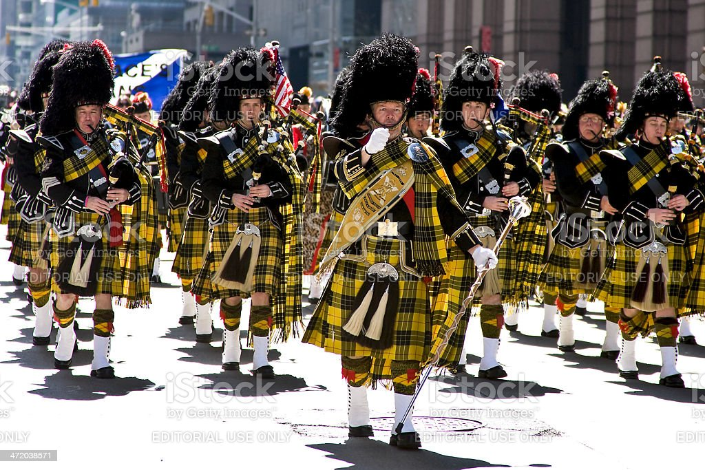Scottish Bagpipe Band, New York City stock photo