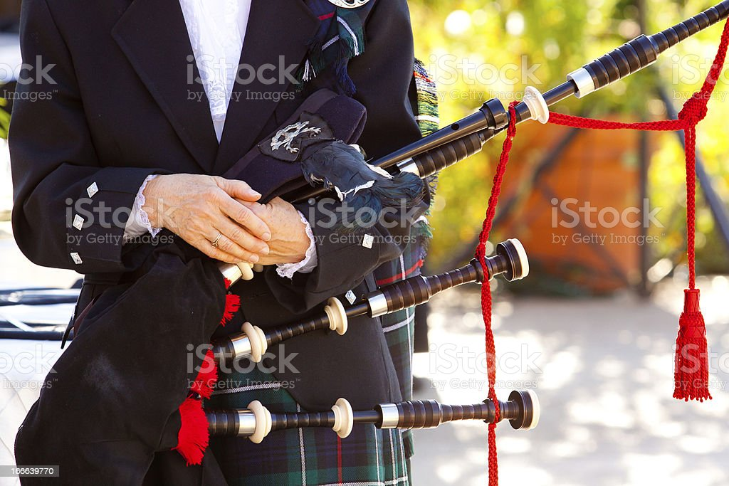 Scottish Bagpipe Player stock photo
