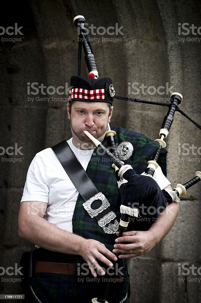 Scottish Bagpiper stock photo